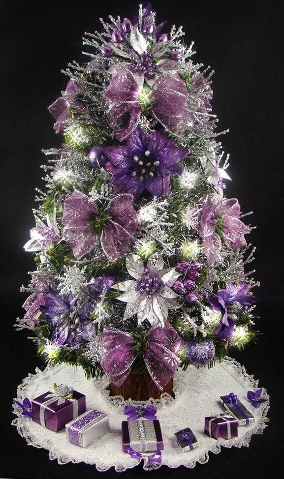 Purple And Silver Christmas Trees.Cristhmas Tree Decorations Ideas Purple And Silver