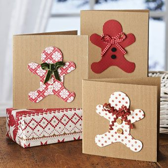 Christmas Card Greetings Gingerbread Men Cards Craft Ideas