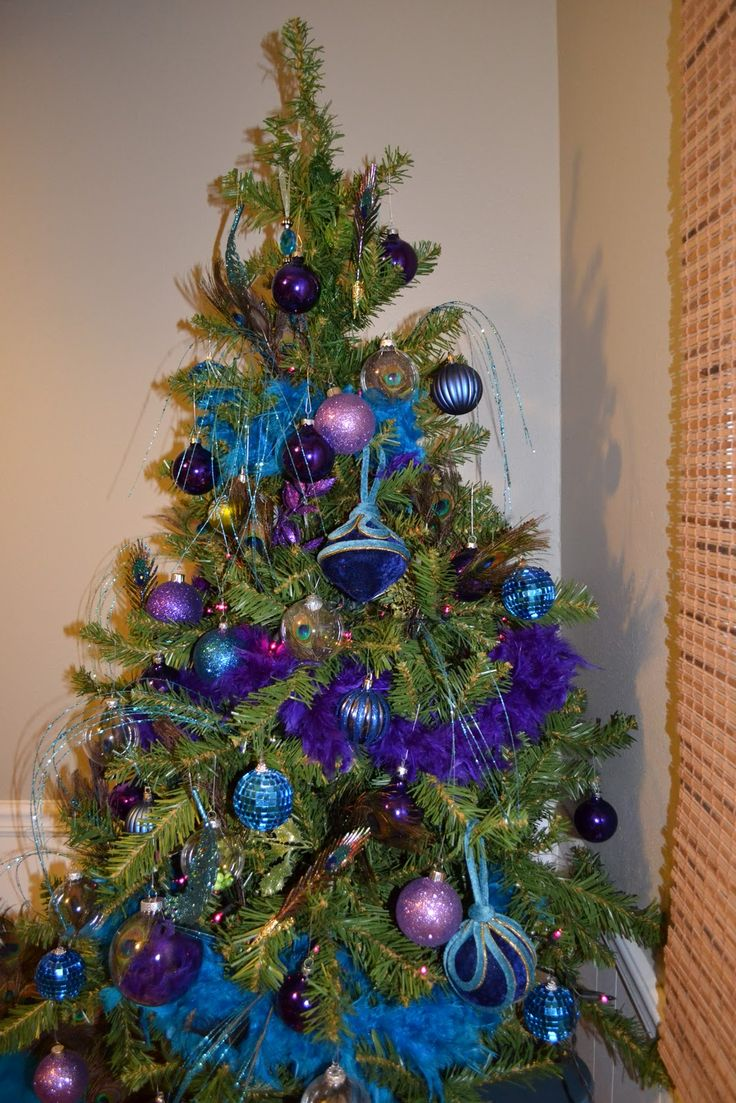 Description. Blue and Peacock Christmas tree