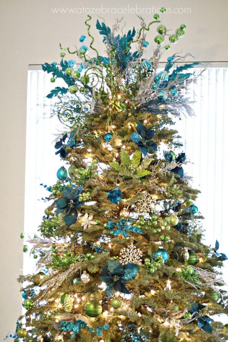Cristhmas Tree Decorations Ideas Blue peacock and gold Christmas tree decoration