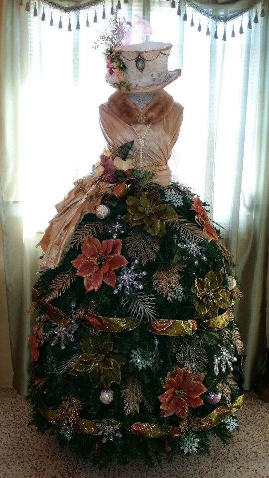 Dress Form Christmas Tree.Cristhmas Tree Decorations Ideas Victorian Dress Form