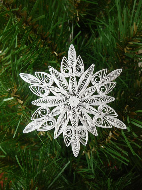 Merry Christmas Wishes Paper Quilled Christmas Snowflake Ornament