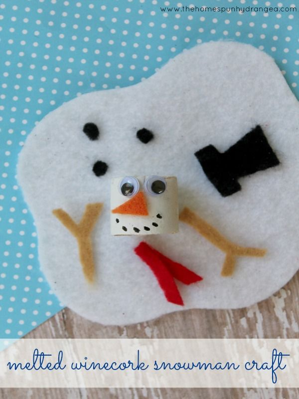 Christmas Crafts Adorable Wine Cork Melted Snowman Craft For Kids