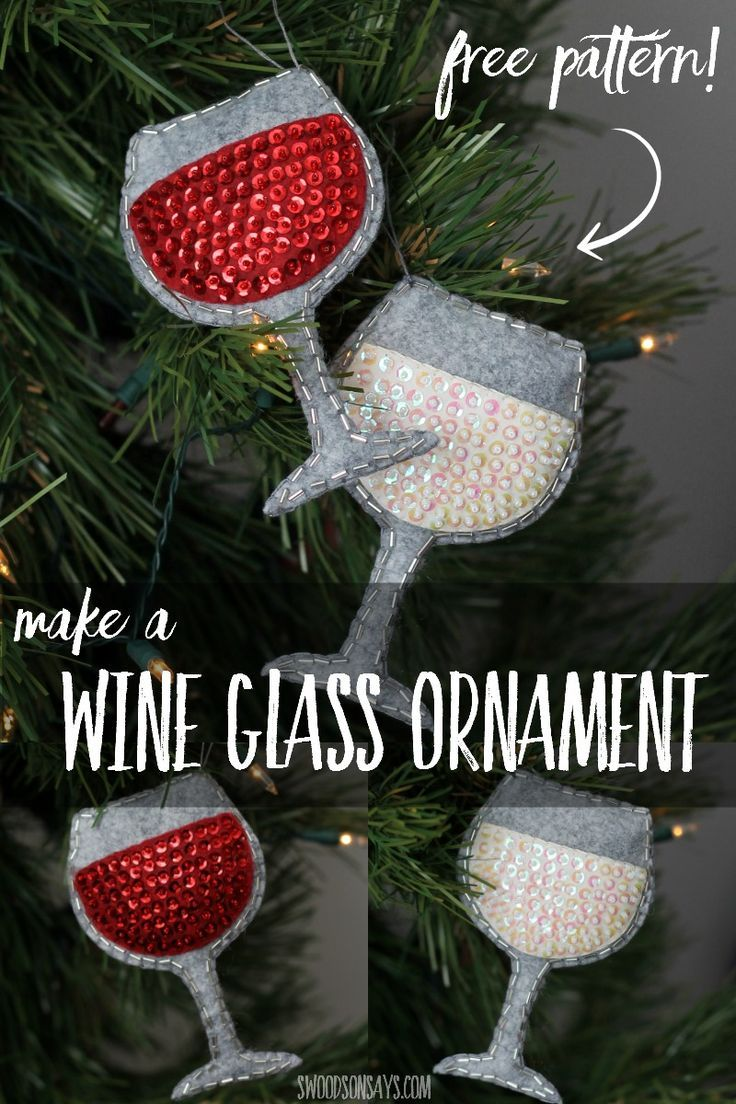 Felt Christmas Decorations To Make Free Patterns.Christmas Crafts Sew A Felt Wine Glass Ornament Free
