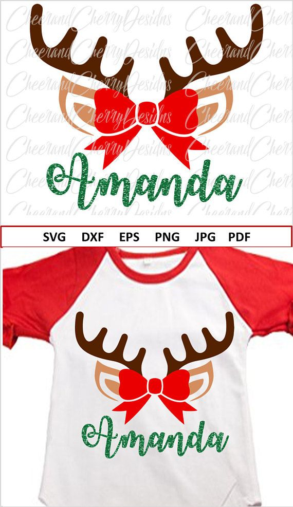 Christmas Bow Svg.Christmas Diy Personalized Christmas Svg Reindeer Monogram