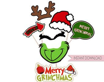 photograph relating to Christmas Photo Booth Props Printable named Xmas Do-it-yourself : PRINTABLE Grinch motivated picture props