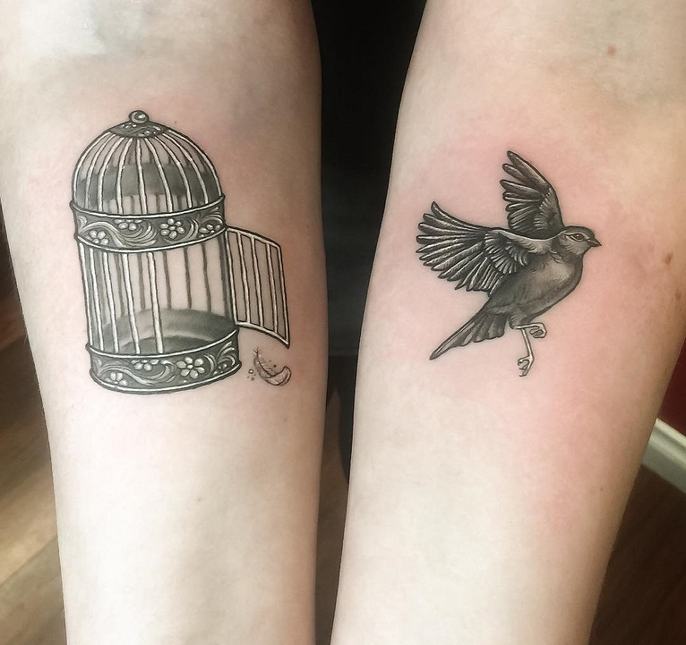tattoo freedom for couple aviary bird