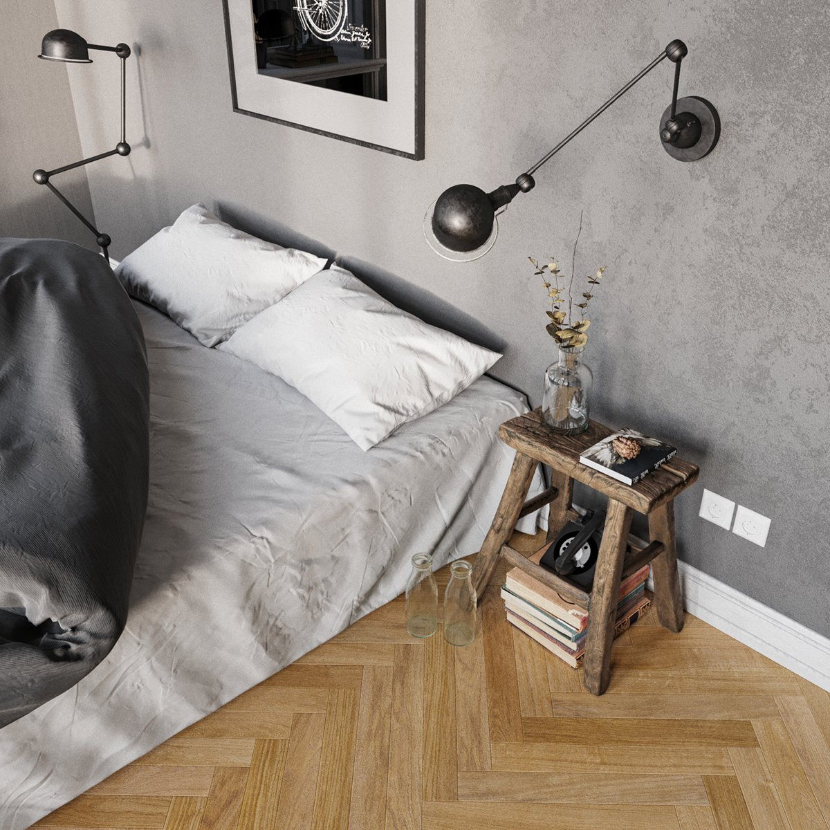 simple bedroom rustic accent